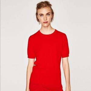 Zara red ribbed top crew neck NWT